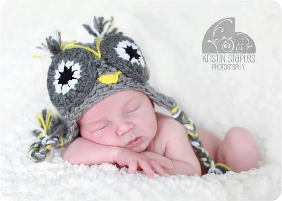Crochet owl hat  0 to 5 years old with earflaps.