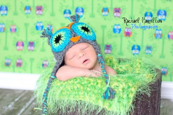 Crochet owl hat grisazul Hat 0 to 5 years old