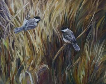 Little Chickadees in the Grass Birds wildlife Painting Original Davis