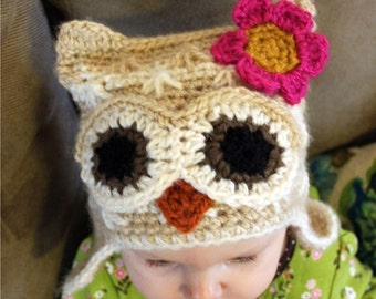 Instant Download - Crochet Pattern - Killians Owl Hat Crochet Pattern (Newborn to Adult)