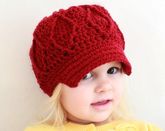 Instant Download - Crochet Pattern - Maggie Newsboy Hat (Toddler/Child and Adult)