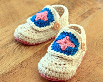 Instant Download - Crochet Pattern - Granny Square Booties (Newborn to 18 mo)