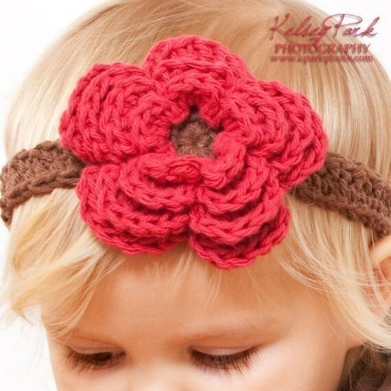 Large Crochet Flower Pattern For Headband : Headband Flower and Bow Crochet Pattern all sizes
