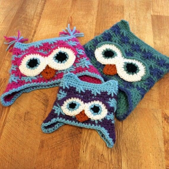 Killians Owl Hat PDF Crochet Pattern Sizes Newborn to Adult