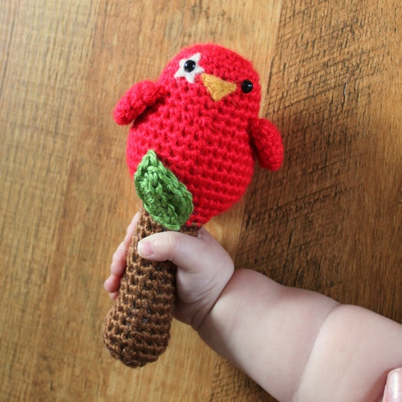 Crochet Pattern - Baby Birdy Rattle Toy