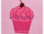 Big Pink Cupcake Hair Clip or Pin Ribbon Sculpture Sparkly