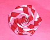Red Pink White Striped Ribbon Rose Hair Clip Or Brooch Valentines Peppermint