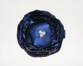 Navy Blue Singed Satin Poppy Flower Hair Clip Bobby or Pin with White Pearl Center