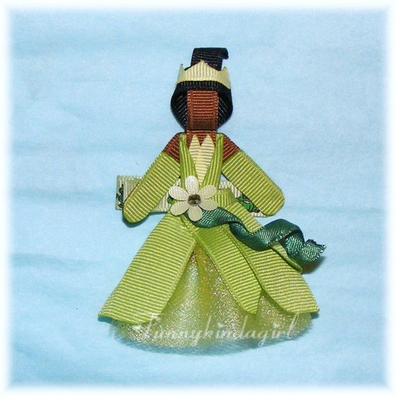Princess Tiana Hair: Frog Princess Tiana Inspired Hair Clip Pin Ribbon Character