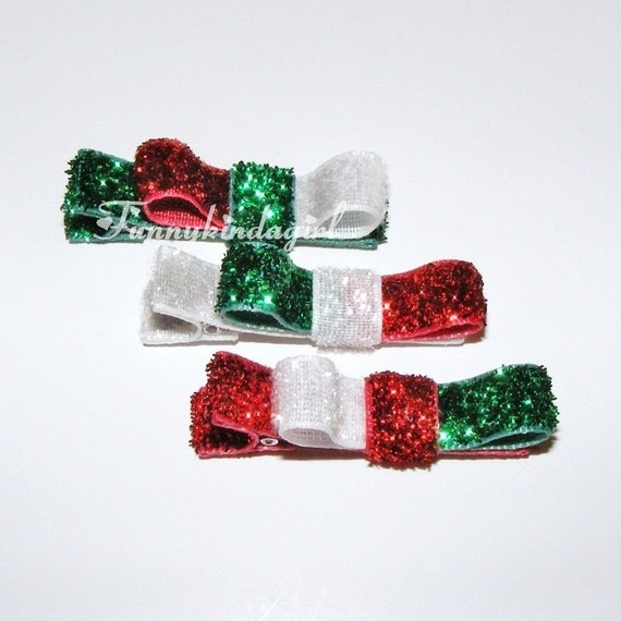 Red White Green Sparkle Hair Clippies Trio of Christmas Barrettes Glitter No Slip