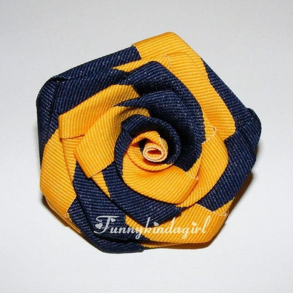 Blue and Yellow Gold Striped Ribbon Rose Hair Clip or Brooch College School Team Spirit