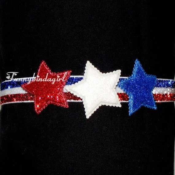 Red White and Blue 3 Glitter Star Striped Elastic 5/8 inch Headband Independence Patriotic