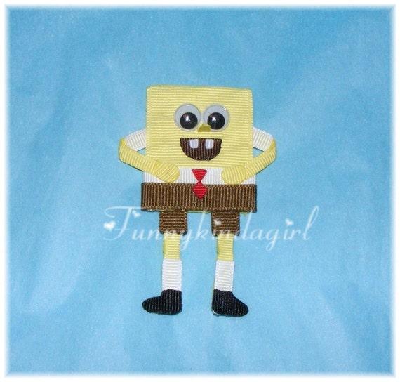 Spongebob Squarepants Inspired Hair Clip or Pin Ribbon Sculpture