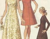 Vintage Misses Long & Short A Line Dress Sewing Pattern Simplicity 8498 UNCUT Size 16 Bust 38