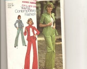 Vintage 1970s Misses Pant Suit Scarf Sewing Pattern Size 12 Bust 34 Simplicity Young Contemporary Fashion