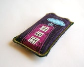 30% OFF- Black Friday Etsy & Cyber Monday  - Reserved for Andre - The pink building in purple iPhone case holder, wallet, pouch by Chapulin