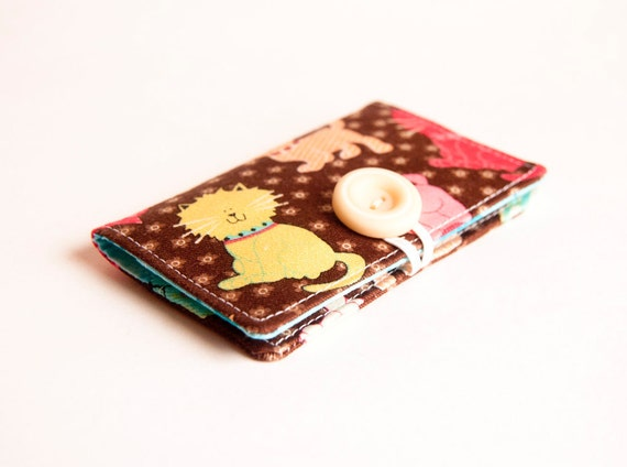 Brown chocolate cats business, credit, driver's license card holder by Chapulin.