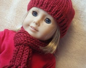 "18"" doll winter hat, scarf and mitten set"
