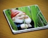 Gnome Ceramic Tile Coasters (set of 2)