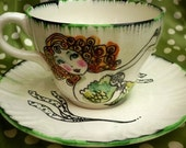 Up-cycled Green Mermaid cup and saucer