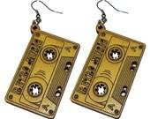 wood casette earring