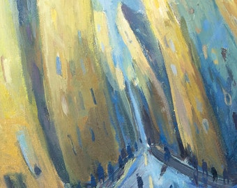 Up to the sky - Original oil painting on canvas panel, New York City Art, Manhattan, Street Art, blue, yellow, wall decoration