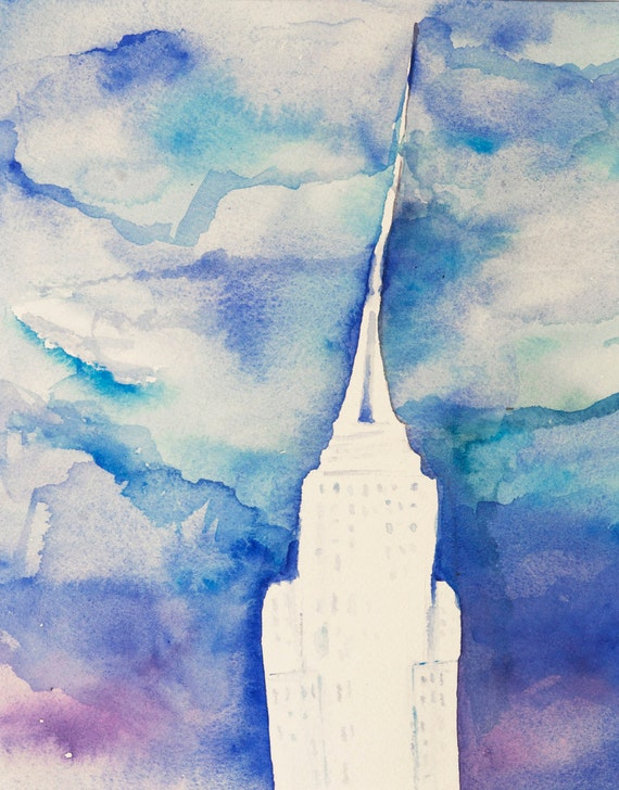 Empire State Building -New York City Art, Original Watercolor painting, illustration,blue, turquoise