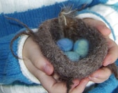 felted bird nest