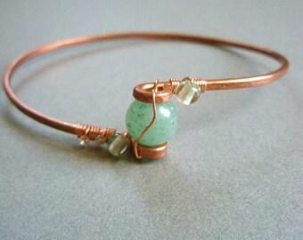 Green Aventurine Gemstone Hammered Copper Bangle Bracelet