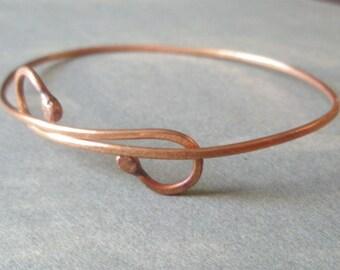 Double Shepherd's Crook Hammered Eco Copper Adjustable Bangle Bracelet
