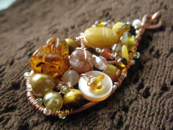Caramel Cluster - Hammered Copper and Semiprecious Shawl Pin Brooch