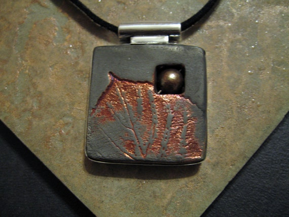 Raku, Pearl and Sterling Double Sided Pendant