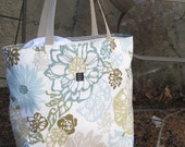 Beach bag in beachy seaside colors LARGE Tote for Beach, Diapers, Books REVERSIBLE