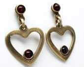 Antiqued Heart Earrings