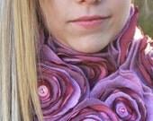 pLayful PiNk - Sumptuous handmade cashmere flower scarf - super long