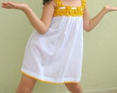 DAISY DRESS-ORGANIC COTTON FABRIC WITH CROCHET 5T-6T