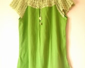 ORGANIC COTTON FABRIC BLOUSE WITH BEAUTIFUL CROCHET IN LIME GREEN