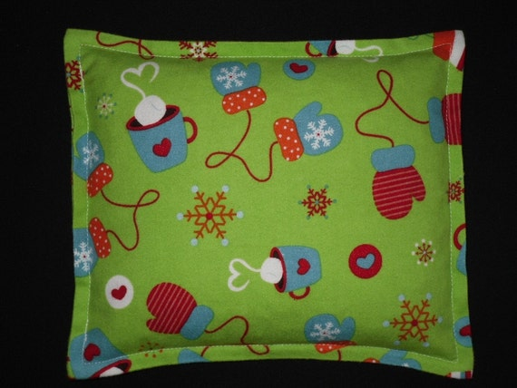Corn Bag Microwavable Heating Pad Heat Pack- Hot Cocoa & Mittens Lime