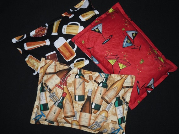 Microwave Heat Pack Corn Bag- Novelty Fabrics- Wine - Martini - Beer