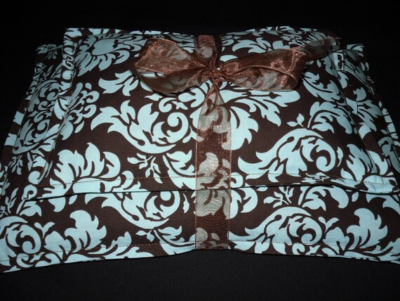 Microwavable Heat Pack Corn Bag Set- Brown and Blue Damask