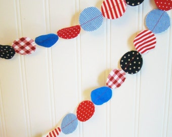 Fabric Garland - Red, White, and Blue patriotic nautical circle garland 6 feet 4th of July, Memorial Day Decoration