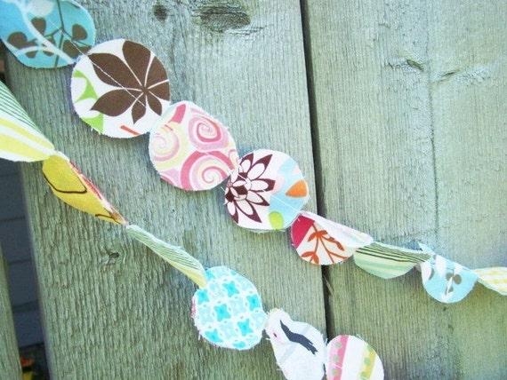 6 Foot Fabric Hand Cut Garland- Pastels