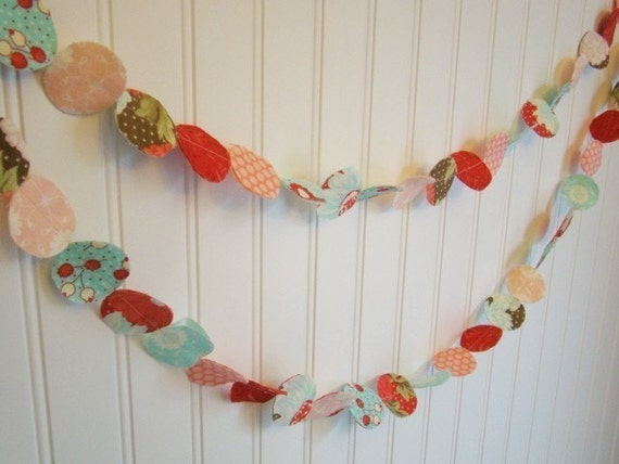 Fabric circle garland  Bliss  Pink Red Aqua Party Event Nursery Home Decor Decoration 6 feet