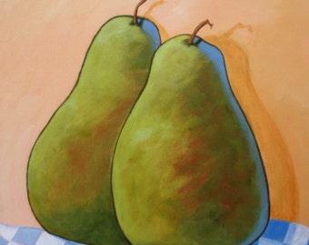 Art -   Pears  - Original Acrylic  -12x12x1.5 deep edge canvas