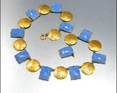 Art Deco Necklace Geometric Glass Gold Robins Egg Blue Vintage 1920s Jewelry