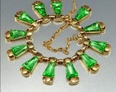 Vintage Lime Green Glass Gold Necklace Cleopatra 1950s Jewelry
