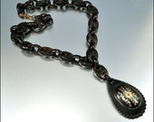 Gold Victorian Necklace Piqué Tortoise Shell Bookchain Antique Jewelry