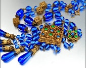 Art Deco Necklace Czech Glass Emerald Blue Gold Vintage 1920s Jewelry