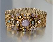 Vintage Rhinestone Bracelet Gold Brass Purple Glass Mesh Statement 1950s Jewelry
