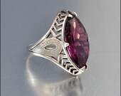 Sterling Silver Art Deco Ring Amethyst Glass Vintage 1920s